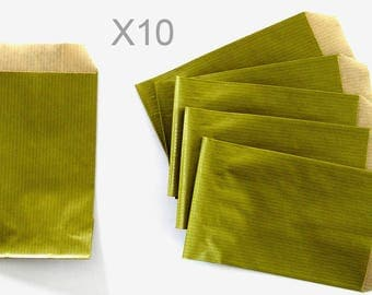 OLIVE green x 10pcs kraft paper gift pouches