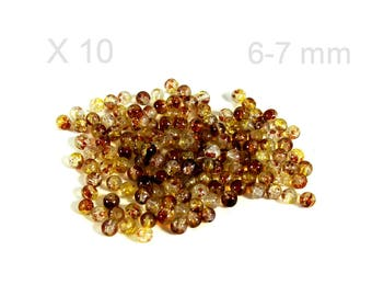 Brown 6-7 mm X 10 pieces color Crackle glass beads