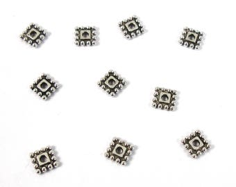 Square 7 mm X 10 pieces antique silver tone spacer beads