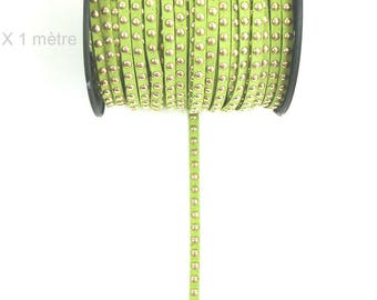 Suede studded cord OLIVE green 6mm X 1 meter