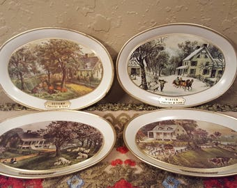 Mini vintage Currier and Ives metal trays.  Small trays or coasters with Currier and Ives American Homestead design.