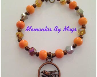 Orange Copper Bird Bracelet