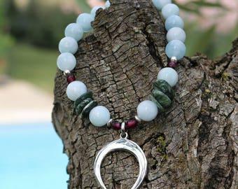 "Gemstone bracelet woman ""Beautiful Zahra"" - Aqua marine, Garnet, ""Crescent Moon"" pendant silver - natural stone - Bohemian chic - 241."