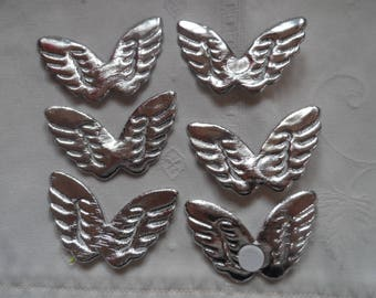 6 Silver angel wing with sticky pad on the back