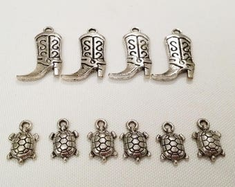 set of 10 charms of two designs
