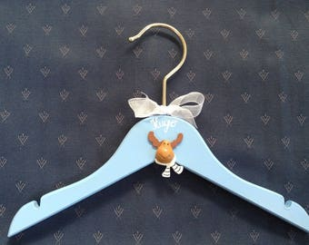 Birthday gift personalized boy or girl: little hanger bleudecore to the child's name