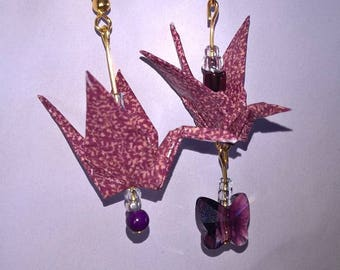 Earrings origami and beads