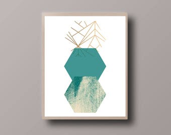 Scandinavian Print, Scandinavian Art Decor, Mint and Gold, Marble Print, Abstract Geometric, Minimalist Geometric, Gold Foil Print