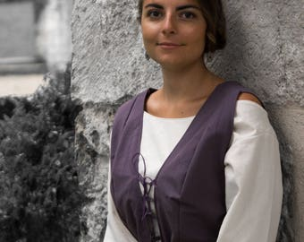 Medieval surcoat / historical RUR-dress with laced, medieval dress cotton