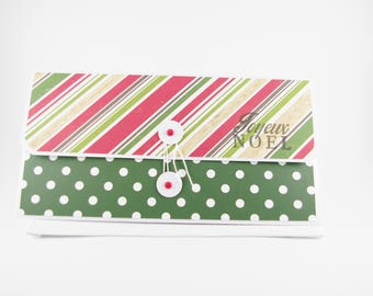 Card holder check red and green Christmas collection