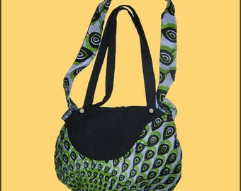 SMALL bag round green and black