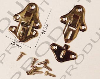 Set of 10 clasps latch lock to close your box jewelry box casket 32 X 23 mm screws included