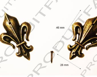 Fleur de lis Decoration embellishment Scrapbooking set of 2 46 X 28 mm brass metal