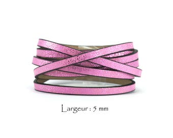 1.2 M - marble - w leather cord: 5 mm / Ep. : 2 mm - pink