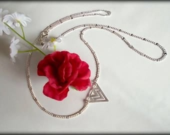 ♥♥ ♥♥ NECKLACE Sterling Silver 925 Candice FIGURE geometric TRIANGLE