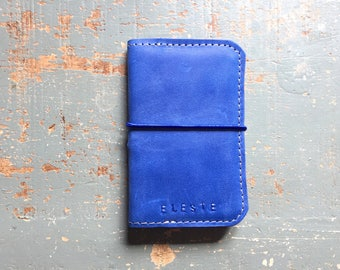 Blue leather wallet, men gift idea, blue elastic band, men, fathers day birthday gift