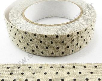 Adhesive linen - black dots - 15mm x 2.5 m Ribbon