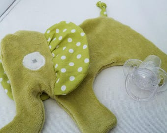 Flat green Elephant Plushie with polka dots