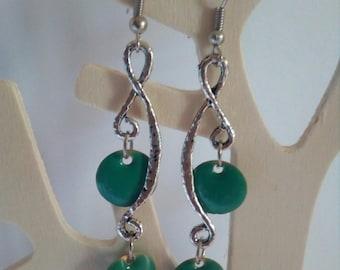 Earrings silver tone and green swirls