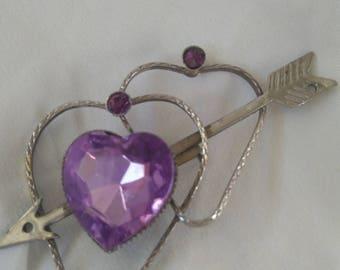Brooch vintage costume with arrow & hearts purple stones
