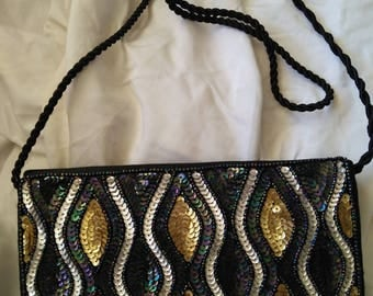 Sequin  and black evening bag long strap