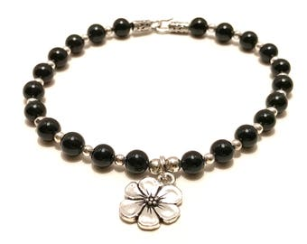 Sterling and Black Onyx Beaded Bracelet w Flower Charm
