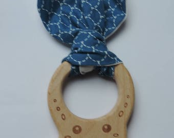 Kids fabric with wooden teething ring