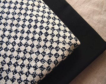 Japanese fabric cotton dobby Sakura geometric black and gold 145 * 50 cm