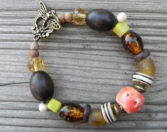 Bracelet wood nice glass and ceramic mix material