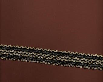 "Golden ""shape in-between"" braid bottom 3cm wide black"