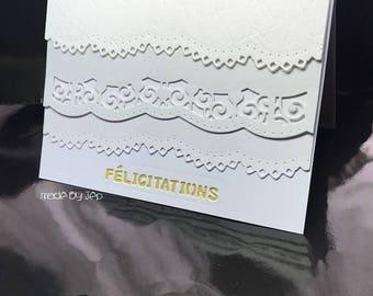 """delicate white on white card """"Congratulations"""""""