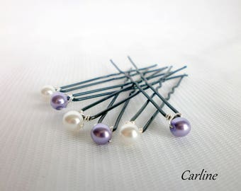6 hair pins purple white bridal hair hair beads 6 mm