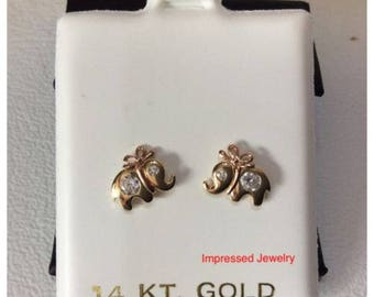 14k Yellow Real Gold Elephant with BOW Stud Shiny CZ Earrings Baby Kids Screw Back