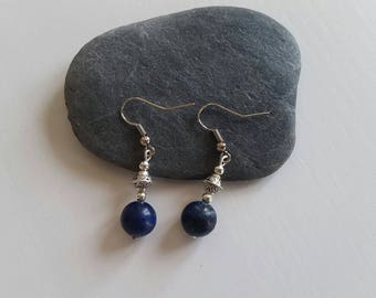 Earrings with Lapis Lazuli (10 mm beads)