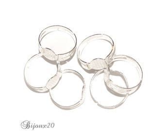 10 blank rings 17.6 mm adjustable silver color for polymer clay cabochon M00902