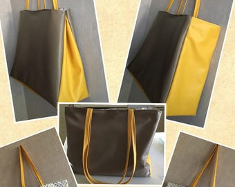 Two-tone leather XL tote bag