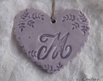 Glazed ceramic hanging, Scalloped edges, heart purple letter ' I