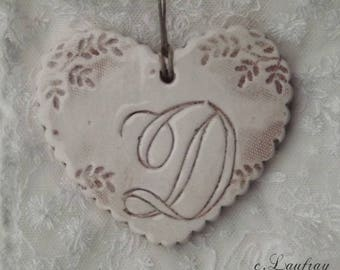 Heart hanging shabby chic ceramic personalized with initial D beige patina