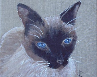 "Painting on linen ""Siamese cat"" 20 x 20 cm"