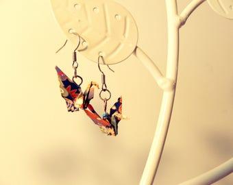 Dark blue origami crane earrings
