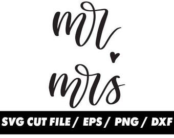 Mr and Mrs svg, Wedding clipart, digital Calligraphy Cursive Lettering – svg eps png dxf - Fabric Cut Print Mug Shirt Decal Active