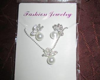 Butterfly bead set necklace + earrings