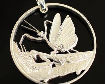 Kazakhstan - 50 Tenge Hierodula Tenuidentata Cut coin pendant necklace. Hand Cut, 31 mm.