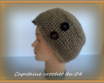 Taupe, hat, hat, woman hat, winter, is hand crochet vintage