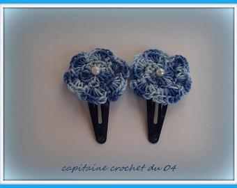 sets of two hair clips/hair clips for little girl/hairpins girl/flower/flower/handmade crocheted clip barrette