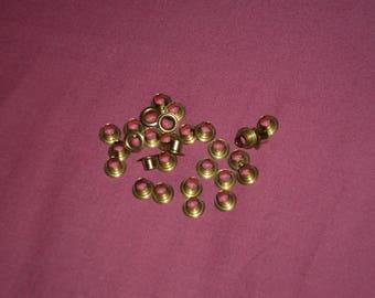 Set of 10 Golden eyelets 40 milimtres