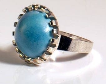 Art pottery turquoise ring