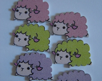 6 sheep buttons assorted colors / / 16 X 24 mm