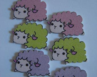 6 BIG BUTTONS WOOD SHEEP 3 COLORS / / 16 X 24 MM