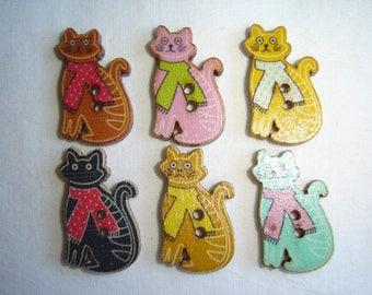 6 BIG CAT KITTEN SHAPE WOOD BUTTONS / / 16 X 28 MM